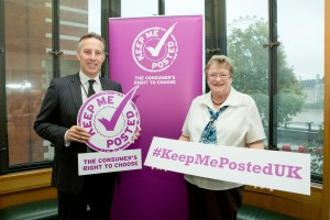 Ian Paisley MP with Judith Donovan CBE, Chair of the Keep Me Posted campaign at their Westminster drop-in event this week.