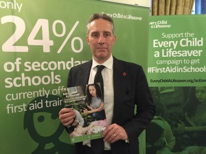 Ian Paisley MP at the Every Child A Life Saver reception in Westminster this week.